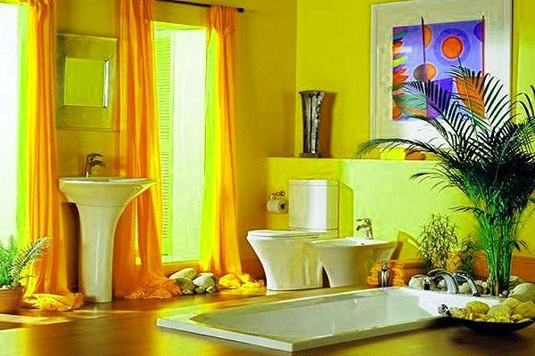 Advantages of a yellow bathroom color scheme