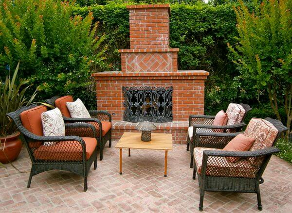 terracotta and brick design of outdoor fireplace in USA