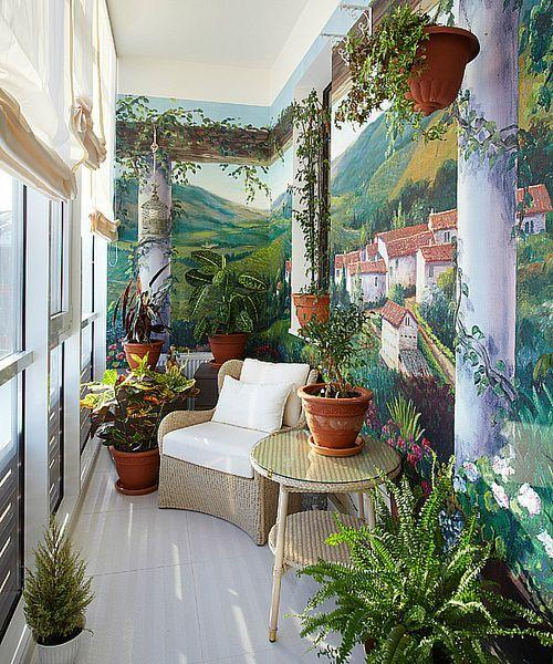Landscape murals on US balcony