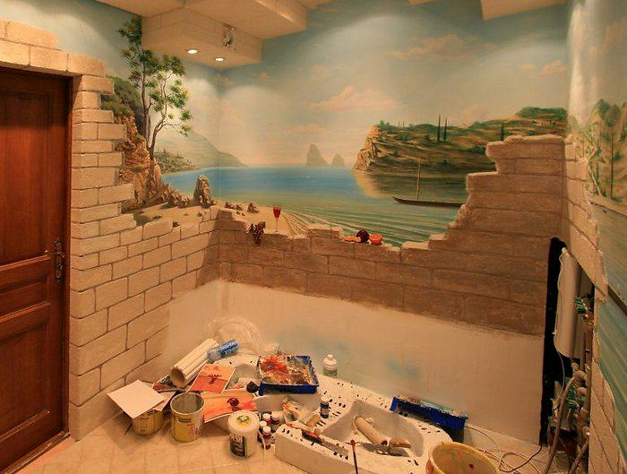 Pictures on walls in a bathroom