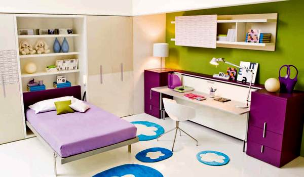 furniture in a US small bedroom for teenage girl