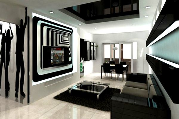 Black And White Living Rooms Design Idea in USA