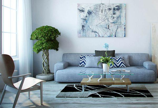 gray with light blue color in living room design