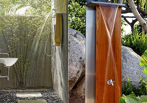An outdoor shower located in the backyard or terrace