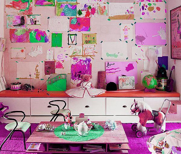 Gallery of kid's paintings on the wall in USA