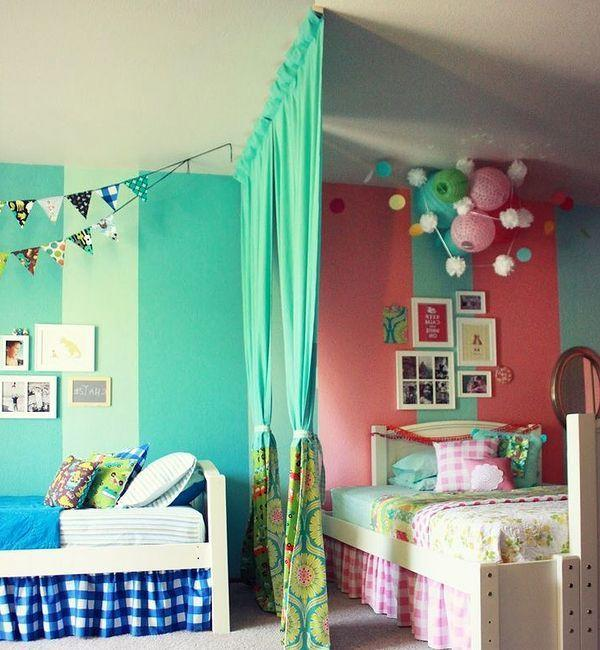 Curtains dividing a children's room