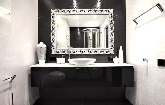 black & white in a small US bathroom